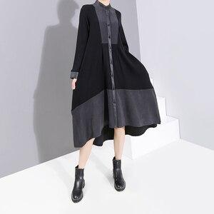 Image 2 - 2019 ใหม่ยุโรปแฟชั่นผู้หญิงแขนยาวผู้หญิงฤดูหนาวเสื้อสีดำชุด Sashes Patchwork สุภาพสตรีปาร์ตี้ Robe 5743