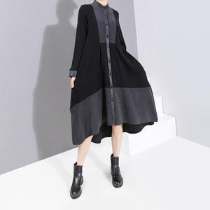 Image 2 - Nuevo 2019 moda europea manga completa mujer invierno negro camisa vestido con Sashes Patchwork señoras elegante vestido de fiesta bata 5743