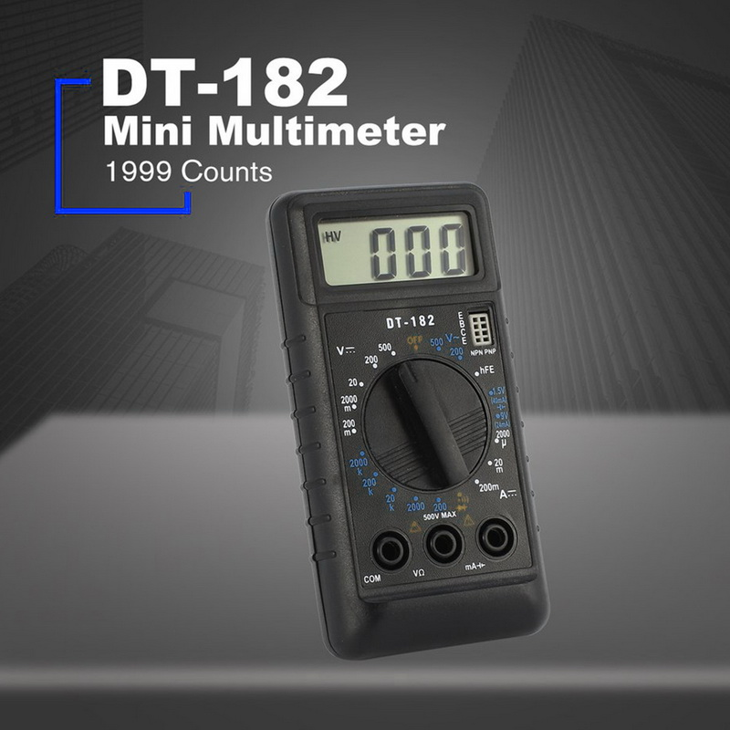 Junejour DT182 LCD Digital Multimeter With Test Leads Pocket Portable AC/DC Voltage Electronic Meter Equipment Portable Tool