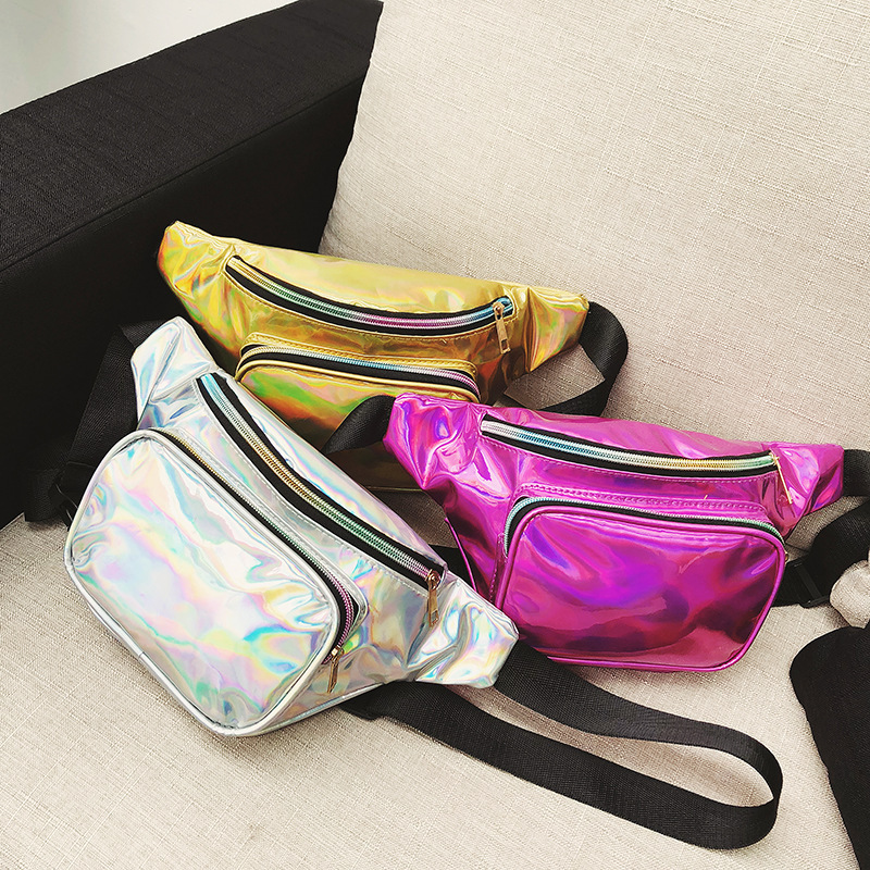 New Style Fashion Symphony Laser Wallet Men And Women Reflective Cash Storage Sports Bag Shoulder Chest Pack Rainbow Beach Bag