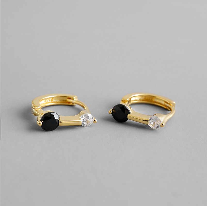 100% S925 Sterling Silver Ear Clip สีดำสีขาวคริสตัล Cz Zircon Hoop ต่างหูผู้หญิงเลดี้เจ้าสาวของขวัญเครื่องประดับ