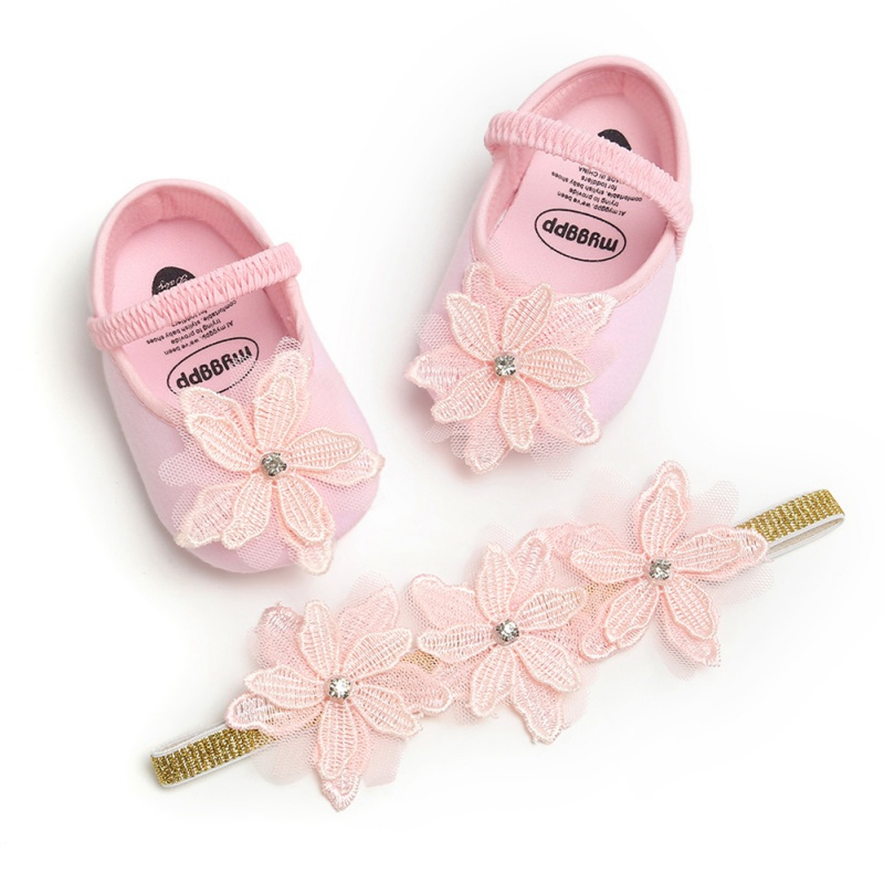 Christening Baptism Kids Girls Baby Flower Shoes Party Ballerina Booties For Baby Set Princess Girl Baby Shoes First Walker