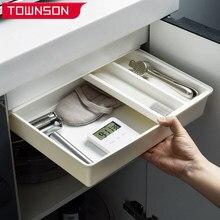 Drawer type storage box under the table Cosmetic stationery storage Organizer Punch free Hidden Storage Box
