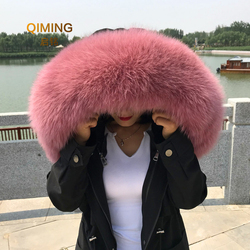 100% Real Fox Fur Collar Winter Woman Natural Fluffy Fur Gray Collar Real Fur Shawl Raccoon Collar Fur Scarf Women Luxury