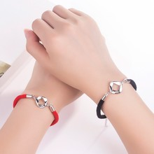 цена на Circle and Square LetterWith youCharm Bracelet for Women Men Lovers Rope Braiding Red/Black String Bracelets Couple Jewelry