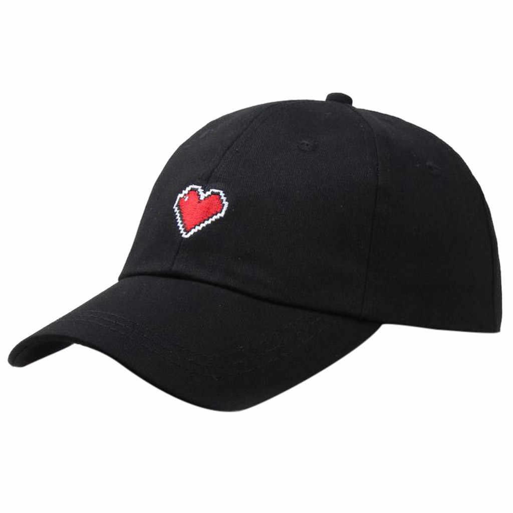 Kalp işlemeli beyzbol şapkası kadın erkek güneşlik ayarlanabilir sevimli hip hop beyzbol şapkası yaz güneş şapkası tenis kapaklar Snapback