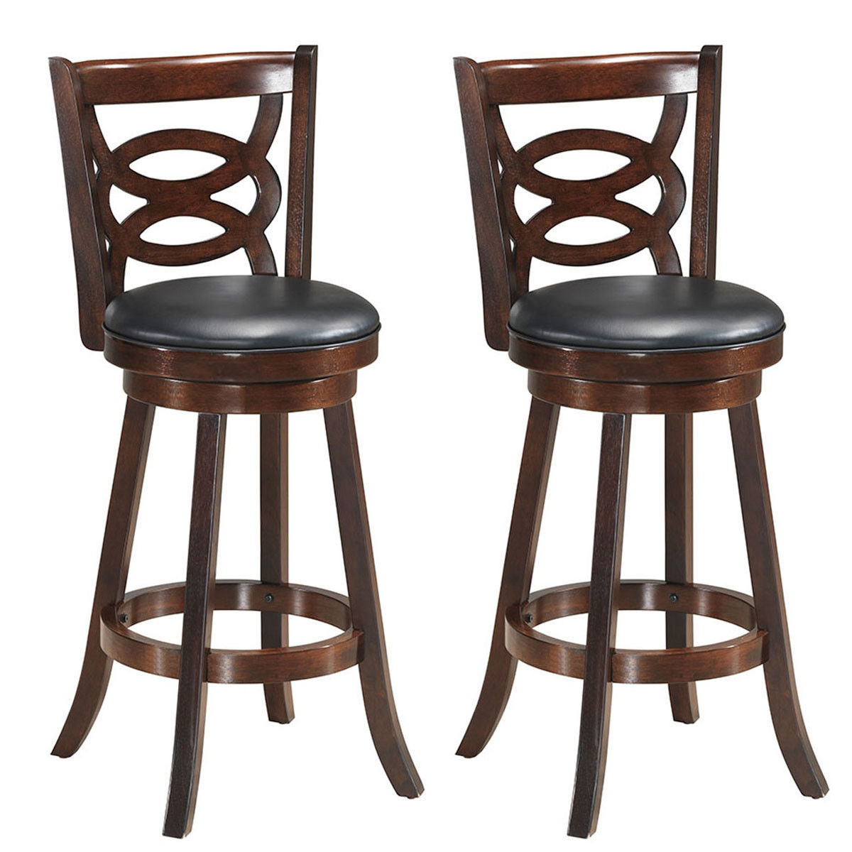 Costway Set Of 2 Bar Stools 29'' Height Wooden Swivel Backed Dining Chair Home Kitchen