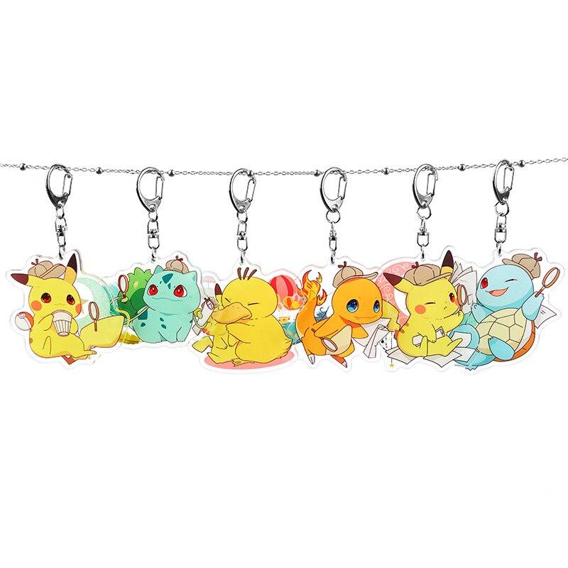Pokemon Keychain Squirtle Pikachu Psyduck Charmander Bulbasaur Cute Fun Cartoon Anime Acrylic Key Chains Backpack Pendant Kawaii