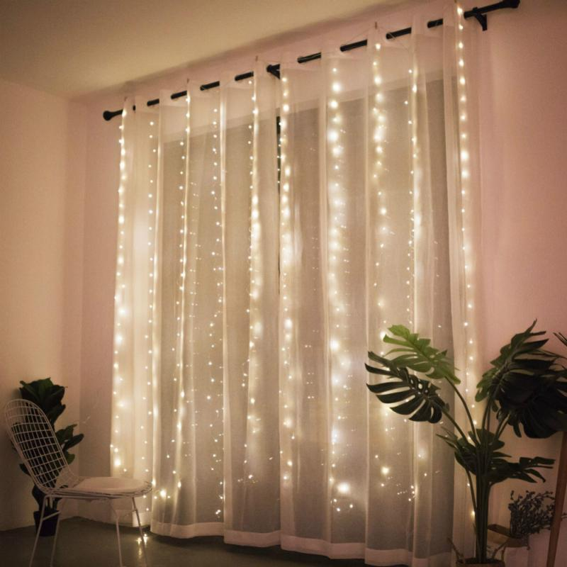 Christmas String Lights Fairy Lights Remote 300LED Garland Decoration USB Charging Curtain Hanging String Wall Light Strip Decor
