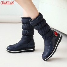 CDAXILAN new to snow boots women down thickened plush warmth legs Mid-calf Mid-heel wedge ladies winter