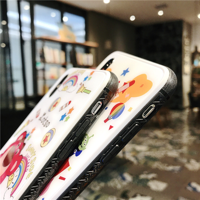 Creative cartoon mobile phone case for iPhone X XS XR XSMax 8 7 PluS tempered explosion proof glass shell drop protection cover in Fitted Cases from Cellphones Telecommunications