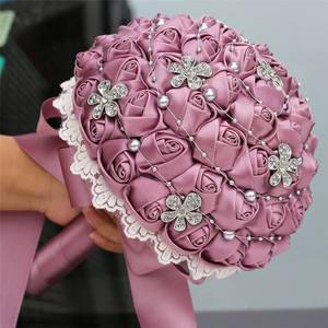 Image 4 - Wifelai uma rosa de veludo roxo, de seda, noiva, buquê de casamento, romântico, dama de honra, broche de cristal, buquê w569