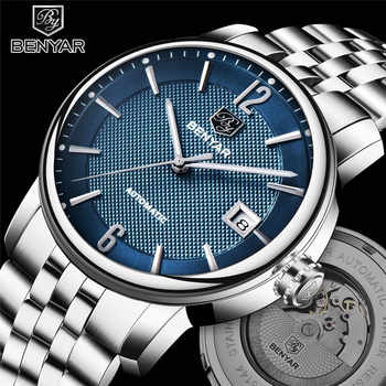 BENYAR New Business Mens Mechanical Watches Waterproof Genuine Leather Brand Luxury Automatic Wristwatch Clock Relogio Masculino - DISCOUNT ITEM  50 OFF Watches