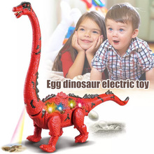 Buy Children Toys Electric Walking Dinosaur Toy Long Neck Lay Eggs Projection Lights Roar Sounds Kids Christmas Birthday Gifts directly from merchant!