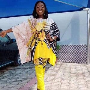 Image 2 - Costume de vêtements dafrique pour les femmes définit nouveau africain imprimé élastique Bazin Baggy pantalon Style Rock Dashiki manches célèbre costume pour dame