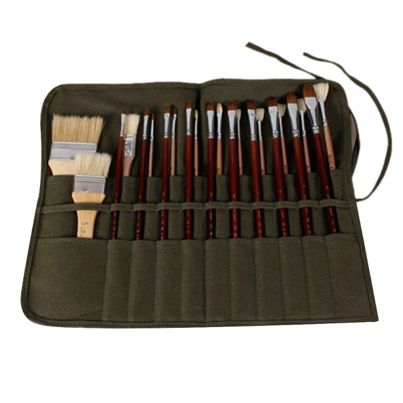 Brush Bag Artist Watercolor Draw Pen Oil Paint Roll Up Canvas Cases Holder Pouch