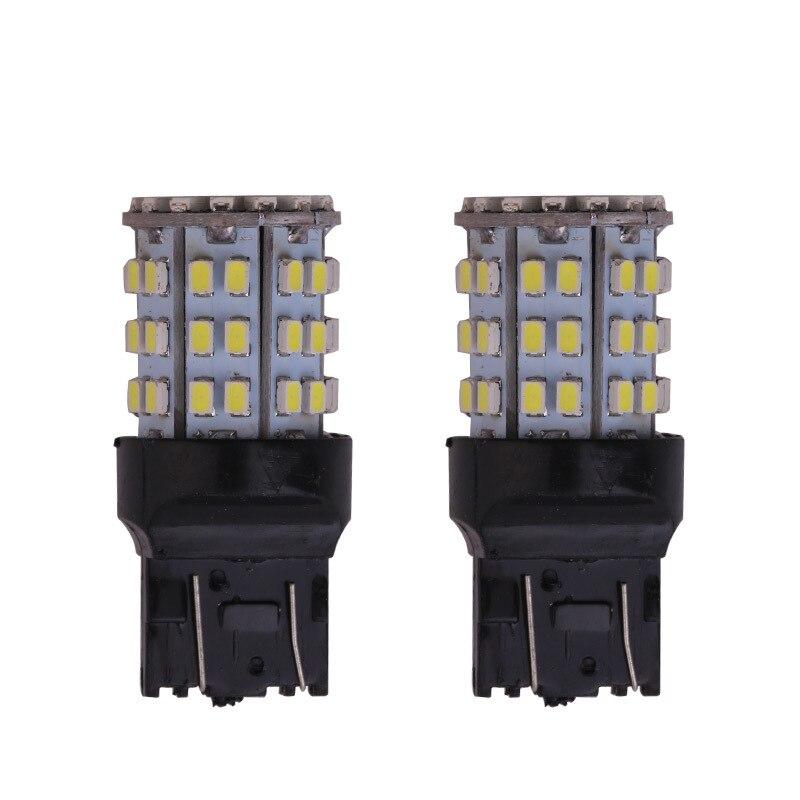 2pc Car Brake Lights T20 7443 W21w W21/5 W 1156 P21W Ba15s 1157 Ba15d Bulb Turn Signal Light 64 Smd White 12V Reverse Brake Lamp
