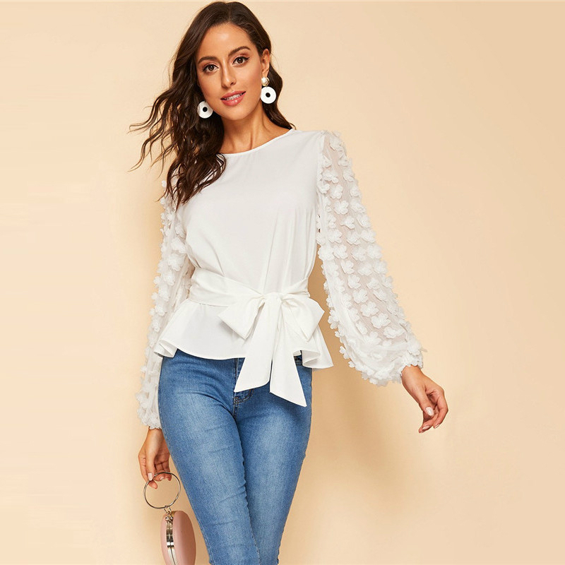 Lantern Sleeve Belted White Blouse Women Tops Spring Elegant Long Round Neck Solid and Blouses