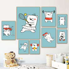 Tennis Bear Football Boxing Nordic Posters And Prints Wall Art Canvas Painting Cartoon Pictures Kids Room Decor