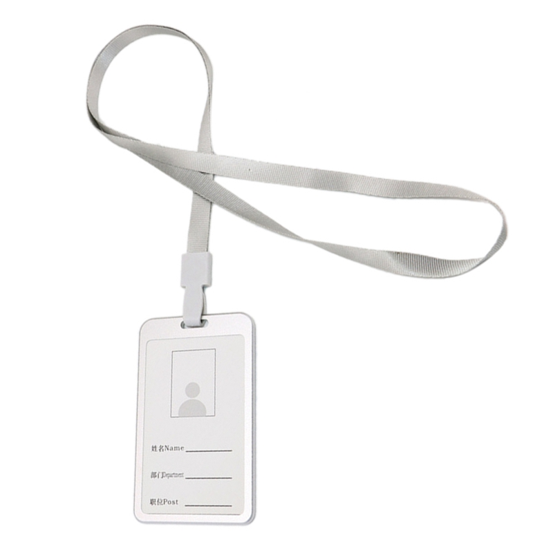 6PCS Silver Aluminum Alloy Identify ID Card Badge Holder With Neck Lanyard Strap For Business,Work, Exhibition,Conferences, Even