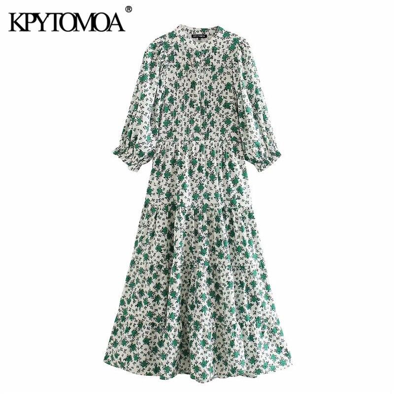 KPYTOMOA Women 2020 Elegant Fashion Flroal Print Midi Dress Vintage O Neck Half Sleeve Female Dresses Vestidos Mujer