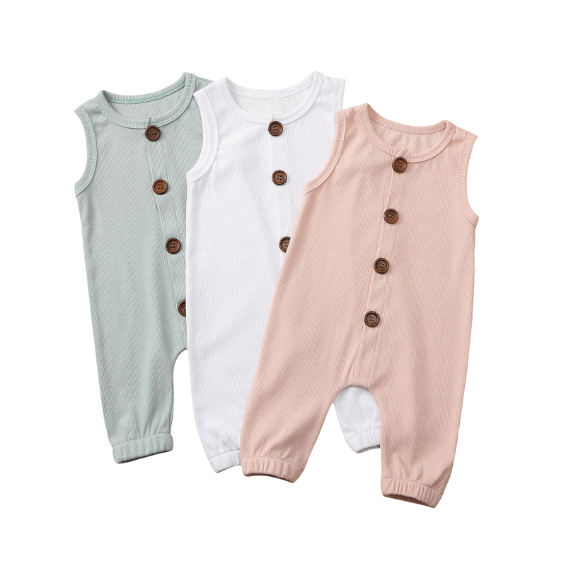 0-24M Newborn Baby Boys Girls Sleeveless Romper Solid Jumpsuit Playsuit Cotton One-Pieces Summer Romper