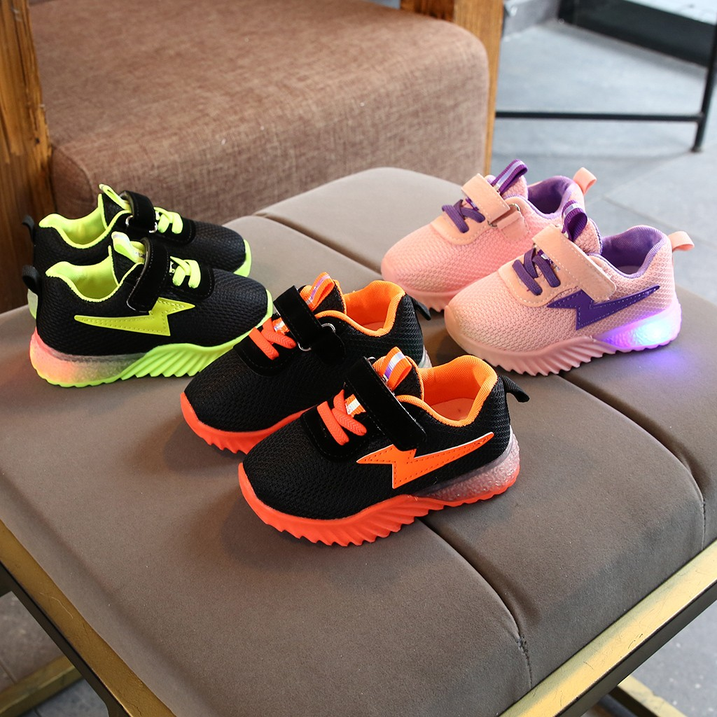 Sneakers Toddler Flashing-Lights Luminous-Shoes Girls Breathable Boys Little Children