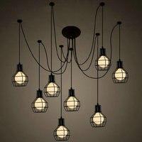 Nowoczesny duży pająk przemysłowy czarny wisiorek w stylu vintage lampa Loft led 10 głowice E27 światła wiszące do salonu kuchni restauracji w Wiszące lampki od Lampy i oświetlenie na