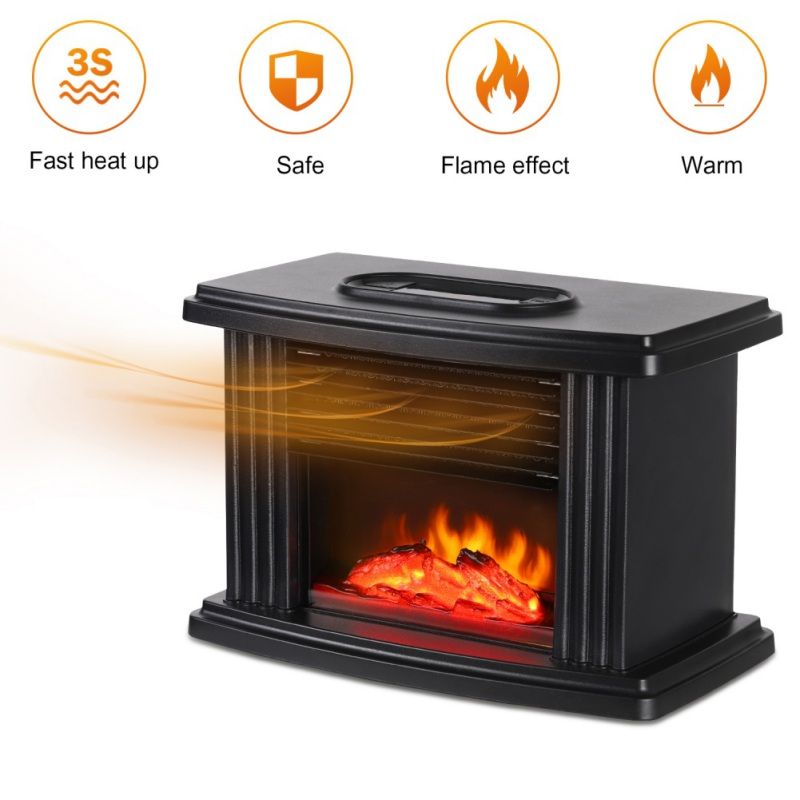 Electric Fireplace Heater Tabletop Warmer Simulation Flame Heating Portable Mantelpiece Room Office Home Heating