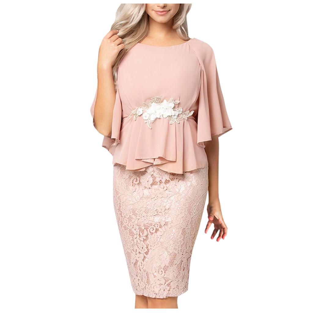 Evening Party Plus Size Dresses Women Bell Sleeve Chiffon Lace Patchwork Peplum Sheath Dress Appliqued Waist Loose Dress #YL10