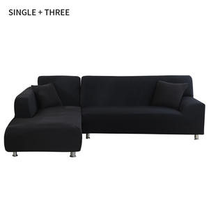 Cover-Set Sofa Chaise Pets-Corner Living-Room Elastic L-Shaped Solid for Longue 1/2-Pc