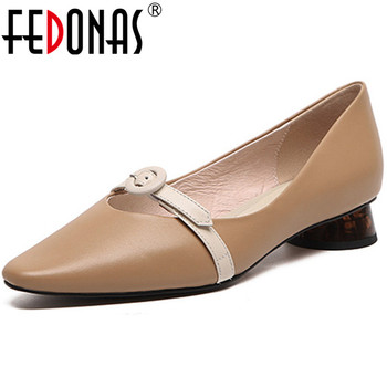 FEDONAS Fashion Women Party Prom Pumps Spring Summer Round Toe Shoes Genuine Leather Elegant Slip On Shoes Woman