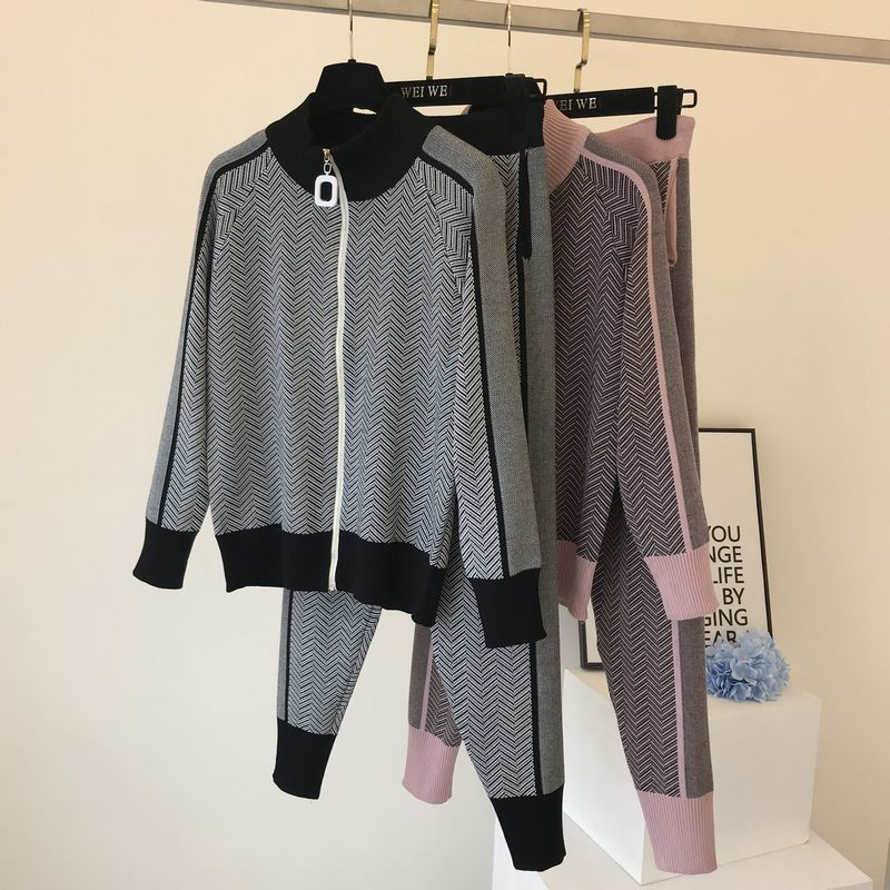 Fall Winter New Tracksuit Woman Color Patchwork Turtleneck Zipper Knitted Cardigans+Pants 2PCS Sets Long Sleeve Knit Top Trouser 51