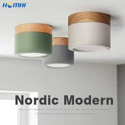 Salon lumières bois Led décoratives cuisine nordique projecteurs Led plafond éclairage à la maison coloré lampe ronde dans la chambre à coucher