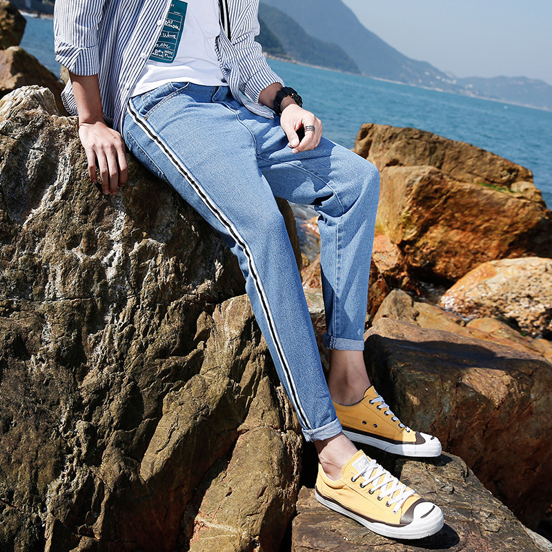Summer Men's Capri Jeans Korean-style Slim Fit Pants Trend Light Blue BF Harajuku-Style 9 Points Pants Men's