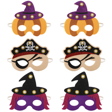 6pcs/pack  LED Halloween Masks Festival Party Half Kids Mask Witch Costume Supplies