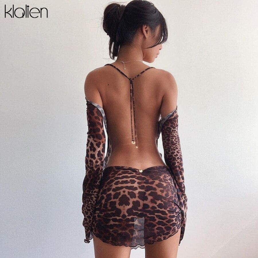 KLALIEN осеннее модное сексуальное открытое платье с низким вырезом на спине и леопардовым принтом женское платье Повседневная Уличная вечерн...