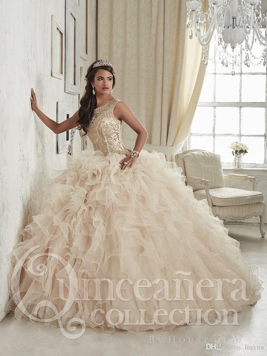 Vestidos De quinceañera Linyixun Champagne 2020, Vestidos De baile con cuentas De cristal bordado, Vestidos De 15 Anos dulces 16