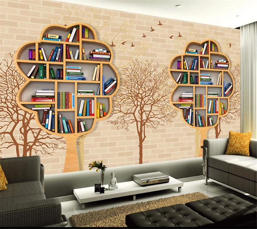 Beibehang Custom 3D Wallpaper Mural Nostalgic Brick Wall Tree Bookshelf Birds Silhouettes Modern Miniature TV Background