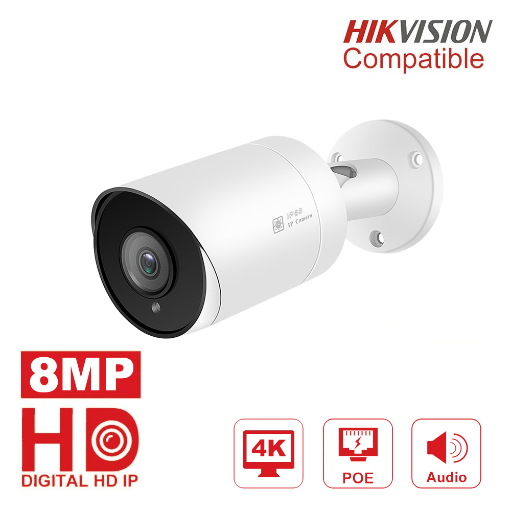 Hikvision Compatible PoE IP Camera 8MP H.265 Video Surveillance Outdoor Cameras 3.6mm Remote Access Support Onvif NAS
