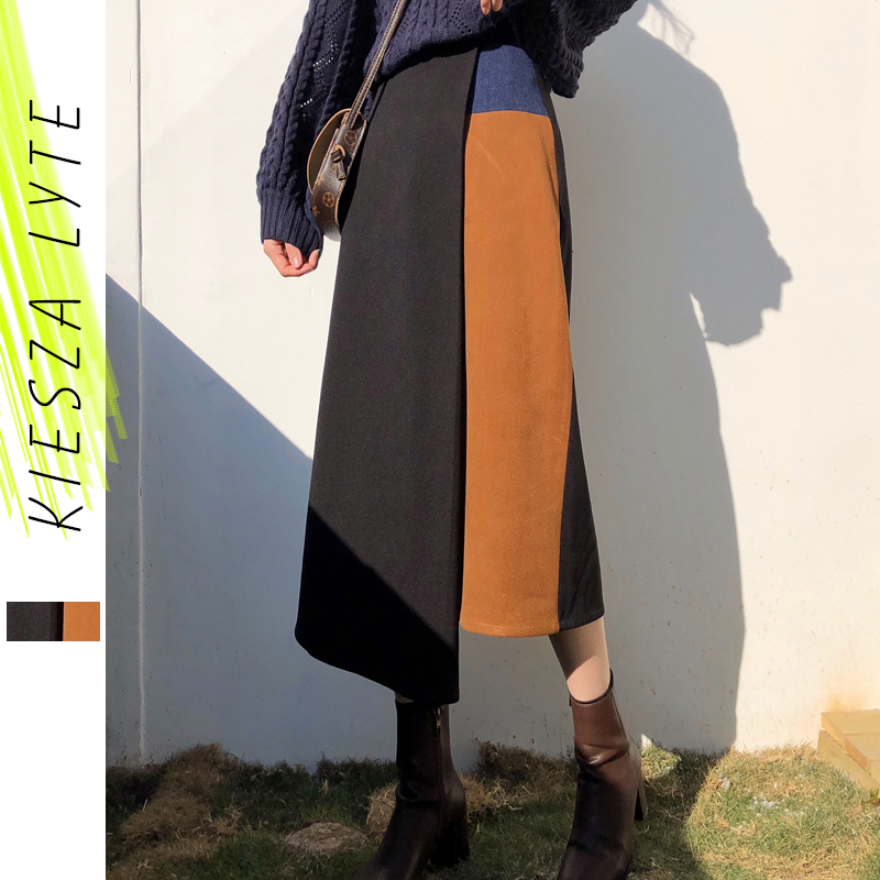 Ladies Autumn Winter Skirts Women High Waist Patchwork Irregular Female Skirts 2019 New