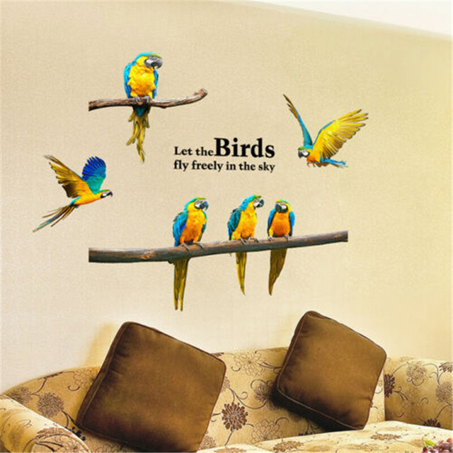 Removable Flying Parrots Wall Sticker New Waterproof PVC Birds Animals Pattern Wall Stickers Decal Art Home Room Decorations Hot
