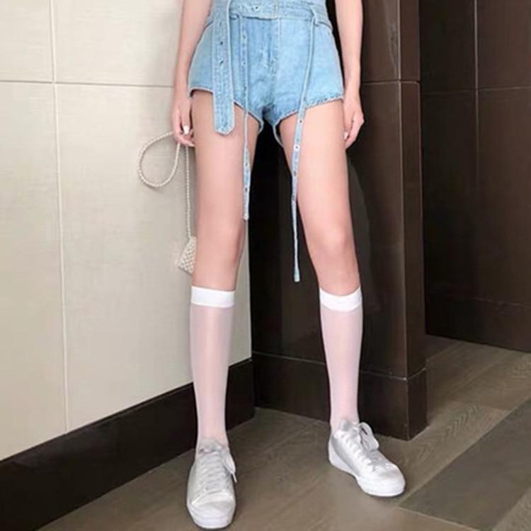 Летние ультратонкие носки, шелковые гольфы, носки в стиле Лолиты, белые, черные, до середины икры, длинные носки женские из нейлона, гольфы, ч...