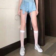 Zomer Ultra-Dunne Sokken Zijde Knie Sokken Buis Jk Lolita Sokken Wit Zwart Half Kalf Lange Sokken Vrouwen Nylon knie Sokken Kousen
