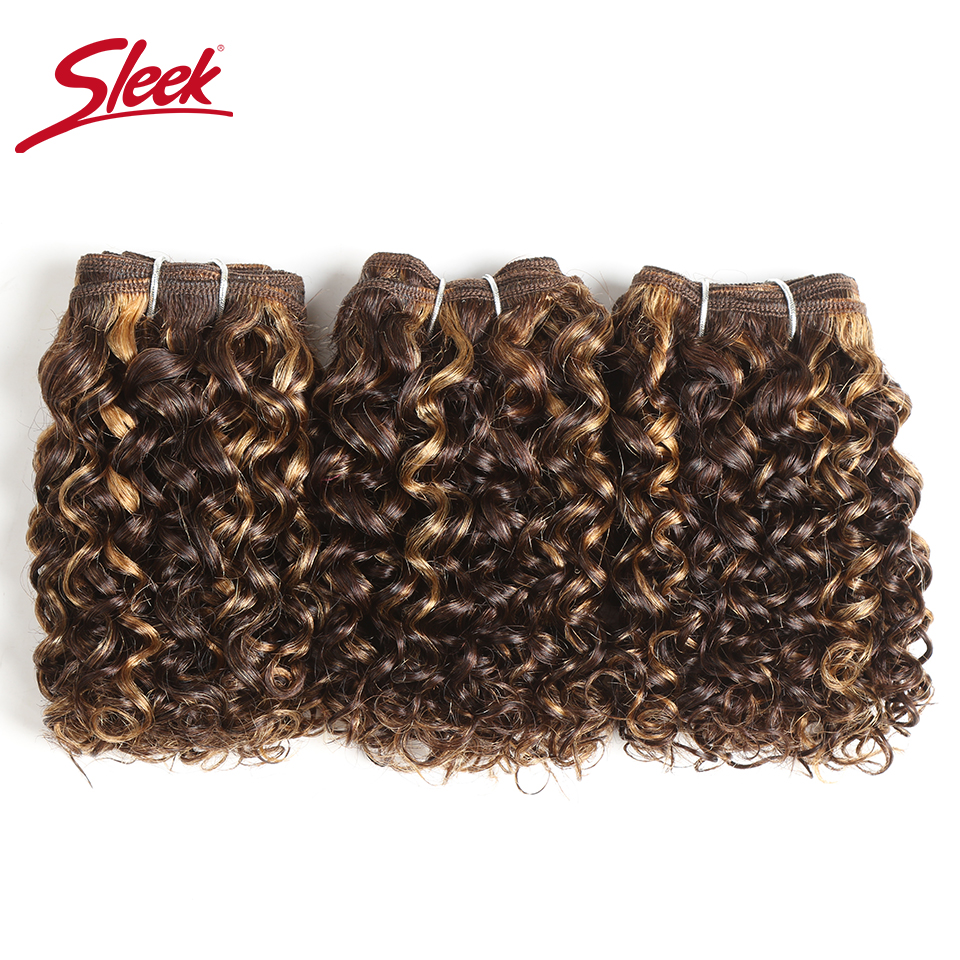 Sleek Hair Indian Remy Jerry Curly Human Hair Double Drawn Piano Color 4/27 4/30 Brown Bundles Hair Extension 3Pcs Lot Free Ship