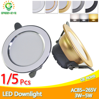 1/5Pcs led Downlight 3W 5W 3000k 4000k 6500k Downlight AC220V 240V led ceiling downlight Kitchen living room Indoor round light|LED Downlights| |  -