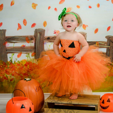 Sexy Kids Halloween Pumpkin Costumes Baby Girl Orange Party Fancy Dress Tutu Fantasia Childrens