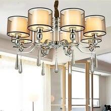 Lâmpada lustre de iluminação tecido sombra chrome led lustres luz moderna lâmpadas led ac com smoky cristal para o quarto como pingente