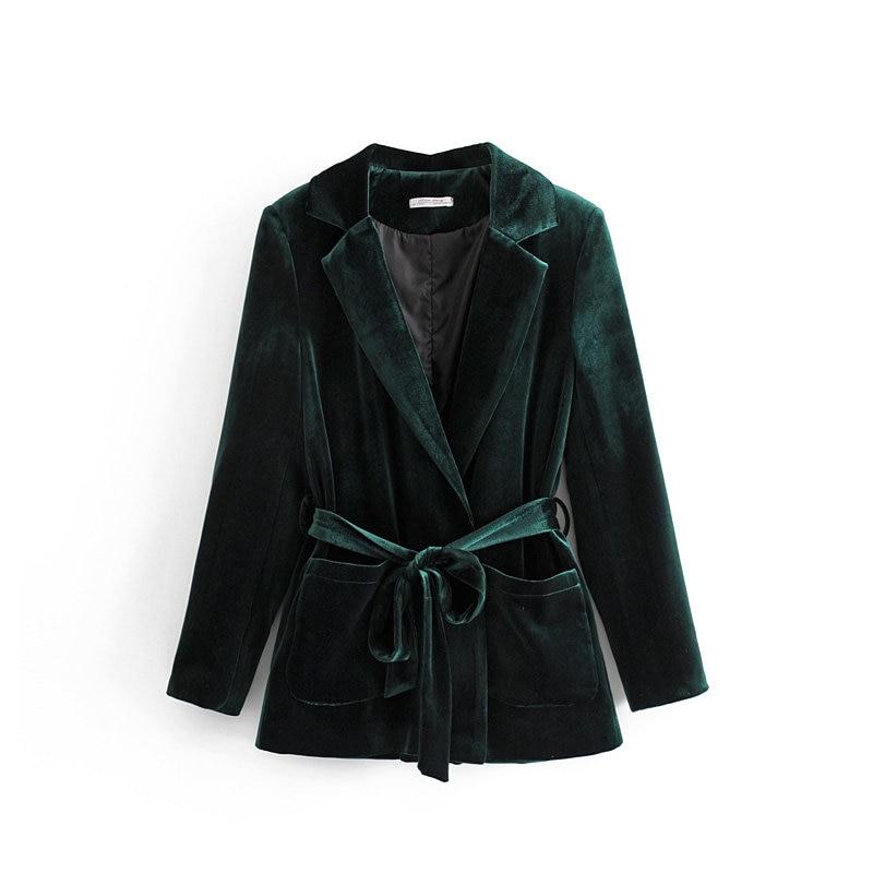 Women's Jacket Autumn And Winter New Temperament OLprofessional Slim Straps Double Pocket Long-sleeved Velvet Suit Jacket Female