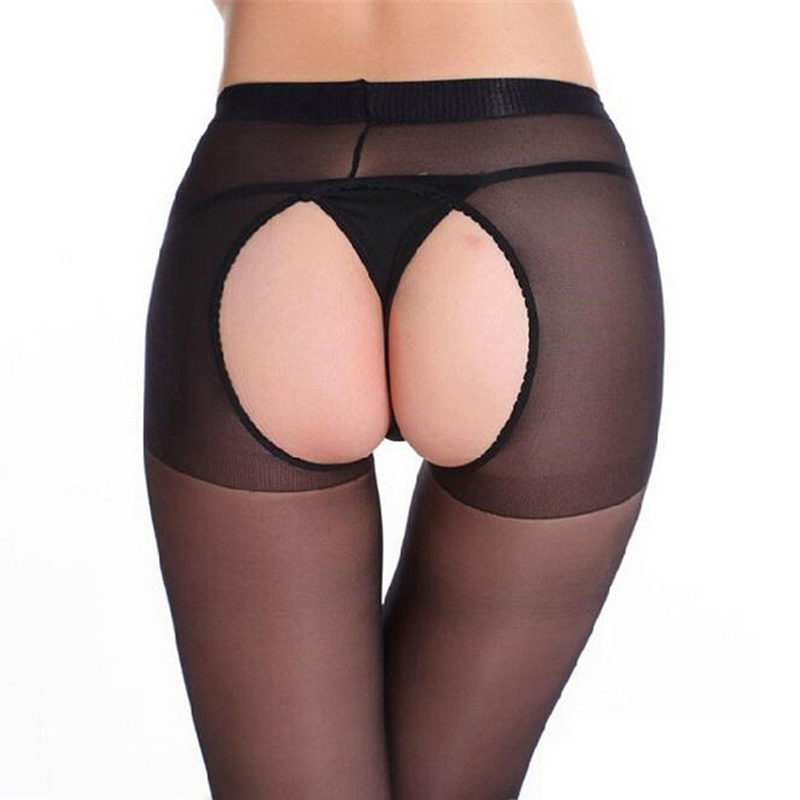 Sexy Women Transparent Black Tights Thin Crotchless Pantyhose Open Crotch Erotic Sexy Pantyhose